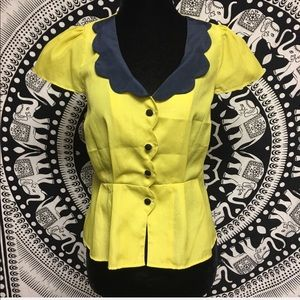 TULLE yellow navy blue button down blouse
